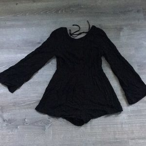 Backless Mini Short Romper with bell sleeves